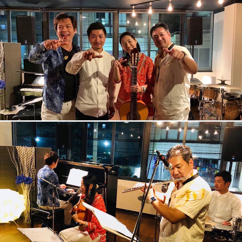 2019年・宮崎県ツアーの一コマ。ピアノ今井亮太郎さん、パーカッション谷口潤実さん、フルート川満直哉さんと。