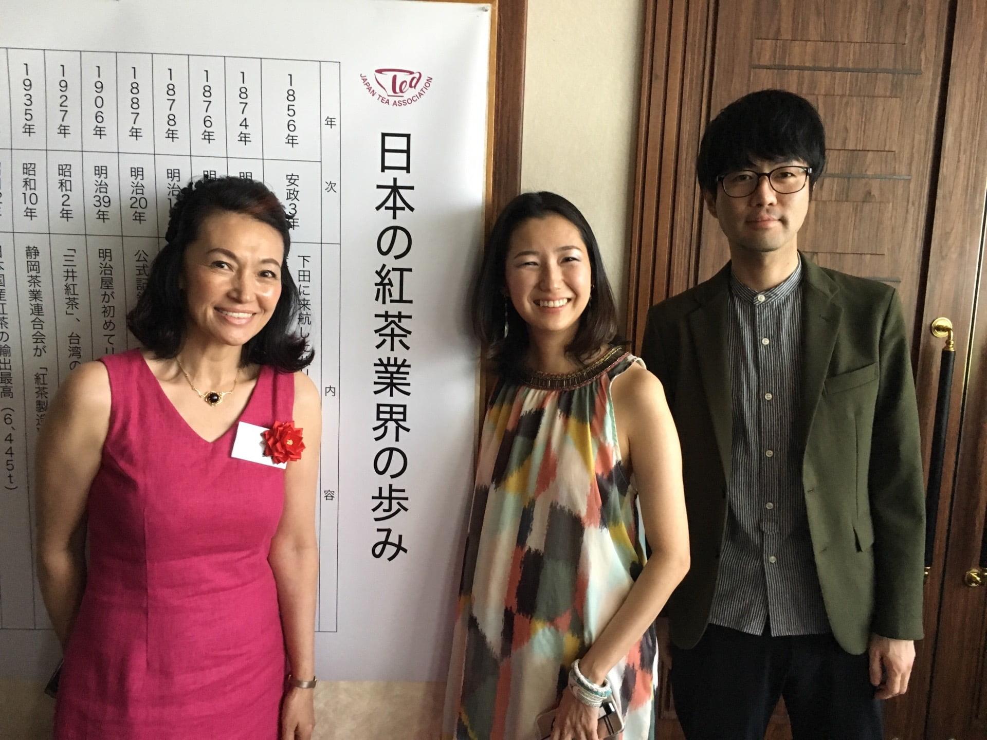 2018年・日本紅茶協会イベント。名誉ティーインストラクターの岡田美里さんと。ピアノの飯島玄麒さん(右)とのDUOで演奏させていただきました。